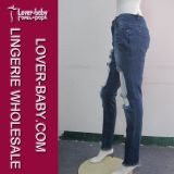 Pantaloni dei jeans di modo delle signore strappati alta vita Jeanswear (L463)