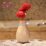 Diffusore a lamella della canna della bevanda rinfrescante di aria di fragranza della casa del diffusore dell'aroma con i bastoni del rattan ed il fiore di Sola in bottiglia di ceramica
