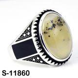 공장 도매 925 자연적인 마노를 가진 은 보석 반지