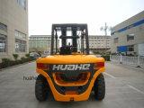 Camião de empilhadeira diesel 7.0Ton com carretel de mangueira e posicionador de garfos