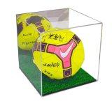 Support acrylique de cube en cas d'exposition de bille de football avec la base noire