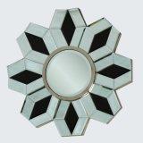 Figura rotonda della parete del blocco per grafici di legno decorativo dello specchio
