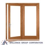 Porte en aluminium française de chambre à coucher de couleur en bois