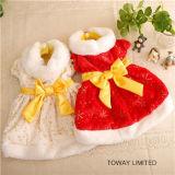 Robe de corail de crabot de velours de Bowtie de vêtements d'animal familier d'année neuve
