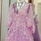 3D floresce os vestidos de noite baratos Z3007 do baile de finalistas do partido das luvas do tampão do estoque nupcial dos vestidos de esfera