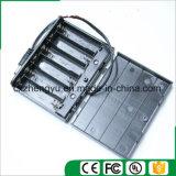 6AA Batteriehalterung mit Gleichstrom-Stecker-Leitungen, Deckel und Schalter
