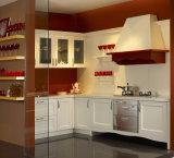 Modules de cuisine européens blancs en bois solide de type de meubles à la maison