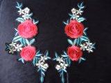 새로운 디자인 최신 고침 자수 꽃 모양 주문 3D 자수 패치