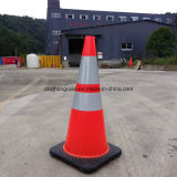 "28 ""7 lbs Black Base Flexível Fluorescente Oranfe PVC Road Safety Cones Traffic Cones"