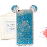 caixa líquida do telefone do espaço livre TPU do Quicksand da areia de Bling do Glitter da orelha de Mickey da decoração 3D