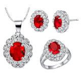 Ожерелья 3 чокеровщика серьги кольца диаманта Zircon способа ювелирные изделия PCS медного кристаллический установленные