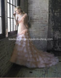 Nixe-Brautkleid-rosafarbenes Organza-Farben-Akzent-Hochzeits-Kleid Lb173