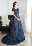 Vestido de noite nu formal W171927 do baile de finalistas do partido do azul de marinha do vestido do laço