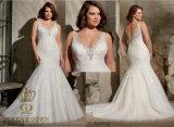 Вышитые Appliques на Tulle при кристалл отбортовывая плюс Bridal платье венчания