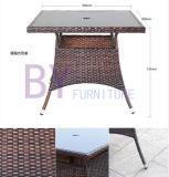 خارجيّة شرفة ساحة مقهى وقت فراغ ثلاثة أو خمسة مجموعة من [ب] [رتّن] طاولات وكرسي تثبيت