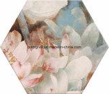 健全な200*230mmははすの花デザイン六角形6のコーナーの多角形の陶磁器の床タイルを注入した