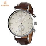 Lederne Quarz-Edelstahl-Uhr-Wasser-beständige Armbanduhr 72515