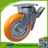 Hochleistungsfußrolle mit orange PU-Rad