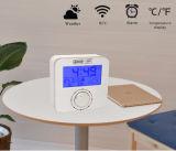 Reloj de alarma controlado de radio de la estación meteorológica con el contraluz azul del LED y el botón rotatorio