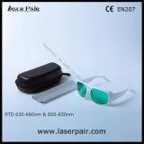 Transmitencia el 30% de la luz visible de las gafas de seguridad de laser de los anteojos de seguridad de laser para los lasers rojos 635nm + los lasers de los diodos 808nm con el marco blanco 52