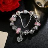 Fabbricazione dei monili dei braccialetti dei branelli di Murano di colore rosa della catena di sicurezza del pendente del cuore del braccialetto di fascino & del fiore dell'orso