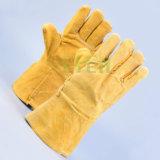 Preiswerte /Grey-Kuh-aufgeteilte lederne Handschuhe der Preis-Qualitäts-Kuh-ledernen Handschuhe/Kuh-Leder-Arbeitshandschuhe