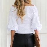 Mode Femmes Sexy Slim V-Neck Puff Sleeve Bandage Clothes Blouse