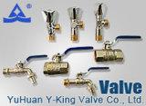 Vávula de bola sanitaria del agua de cobre amarillo de la plomería con el precio de fábrica (YD-1021-1)