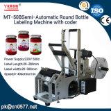 De halfautomatische Ronde Machine van de Etikettering van de Fles met Codeur (MT-50B)