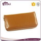 Бумажник застежки -молнии двойника бумажника женщины RFID кожи масла большого портмона емкости неподдельный