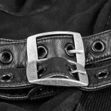 Camiseta punky del negro del orificio de la tela de la cuerda de rosca del algodón de los bucles del múltiplo del otoño T-461
