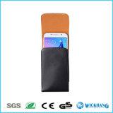 Caja brillante vertical de la bolsa de la pistolera del clip de la correa de cuero para el iPhone 6