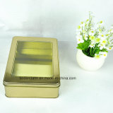 Cuadro de estaño de encargo de oro metálico rectangular de la galleta con Clear Top Tapa
