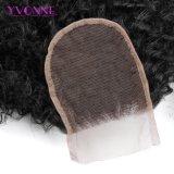 Yvonneafro-gibt lockiges brasilianisches Jungfrau-Haar-Spitze-Schliessen 4X4 Teil-Menschenhaar-Schliessen-natürliche Farben-freies Verschiffen frei