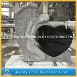 Headstone materiale del granito di configurazione nera su ordinazione con la scultura della mano