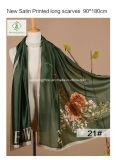 Signora calda Fashion Satin Silk Scarf di vendita 2017 con il fiore stampato