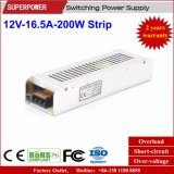 fuente de alimentación de la tira de 12V 16.5A 200W para el rectángulo ligero del LED
