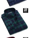 Do homem longo da luva do algodão da alta qualidade camisas ocasionais da camisa de manta