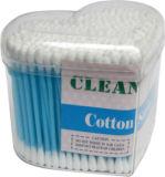 100PCS vara de madeira esterilizada do cotonete de algodão / cotonete em caixa de PVC