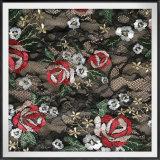 花の刺繍が付いているローズの刺繍のレースファブリックが付いているレースファブリック