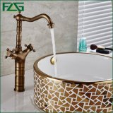 Flg Basin Faucet Latão Antique Double Handle Deck Mounted