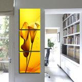 La pittura di parete moderna di vendita calda delle 3 parti fiorisce la maschera decorativa domestica di arte della parete della pittura verniciata su arte Mc-204 della casa della tela di canapa