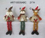 Mestiere levantesi in piedi del regalo della decorazione di natale della renna del pupazzo di neve della Santa