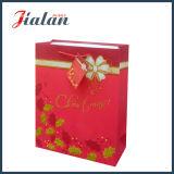 Personnaliser avec le sac de papier de cadeau de papier en ivoire de Joyeux Noël de scintillement