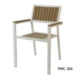 Cadeira de jantar de madeira plástica ao ar livre da mobília e do alumínio (pwc-15091)