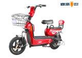 Bicicleta eléctrica elegante del viajero con resto de parte posterior de asiento trasero delantero de la cesta