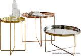 Mesa de centro limpa da tabela de chá da venda por atacado do frame do metal com vidro temperado