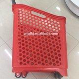 Chariot en plastique à roulement d'achats de supermarché (ZC-18)