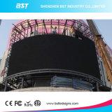 Visualización de LED a todo color curvada al aire libre caliente de la venta P10 SMD3535 para la plaza comercial