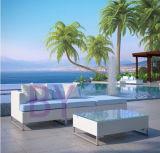 mobília ao ar livre de vime do aço inoxidável do sofá branco luxuoso do jardim by-471